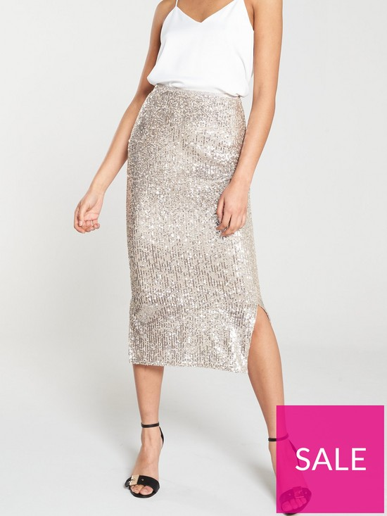 0ef18f69868818 River Island Sequin Wrap Skirt - Silver | very.co.uk