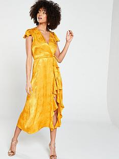 35abd9302a7 River Island Jacquard Midi Dress- Ochre