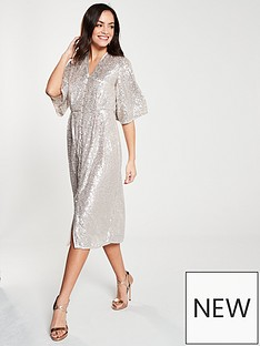 2207a571830e3e River Island River Island Sequin Kimono Dress - Silver