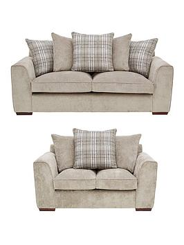 Campbell Fabric 3 Seater + 2 Seater Scatter Back Sofa Set (Buy And Save!)
