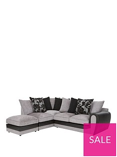 fleurnbspfabric-and-snakeskin-left-hand-corner-chaise-scatter-back-sofa-footstool