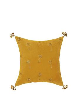 monsoon-ochre-velvet-cushion