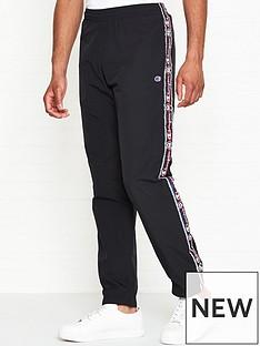champion-reverse-weave-logo-tape-tracksuit-joggers-black