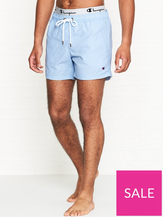 10d4c0939a Champion Reverse Weave Logo Waistband Swim Shorts - Blue | very.co.uk