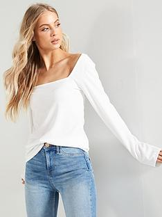 71c8d80eb7b0c V by Very Square Neck Top - Ivory