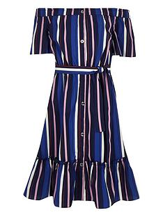 85b86074b39 River Island Girls stripe bardot midi dress - blue
