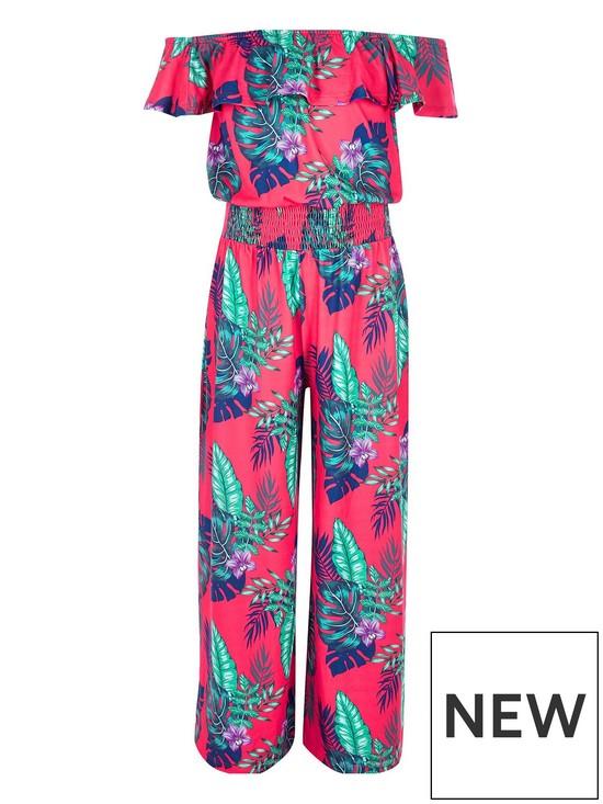 587e35531f River Island Girls tropical print bardot jumpsuit - pink