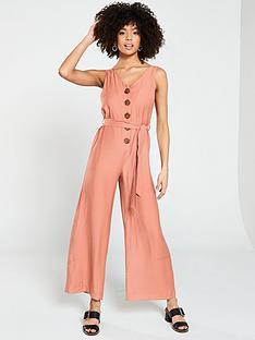 41004d3b5c5 River Island River Island Contrast Button Tie Belt Jumpsuit- Pink