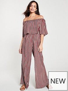 0be004a211 River Island River Island Stripe Bardot Frill Jumpsuit- Red Stripe