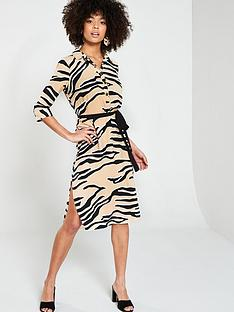 7cd4cf182bc River Island River Island Zebra Print Shirt Dress- Beige