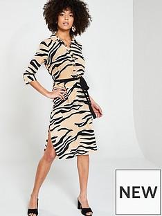 da1941a6d1 River Island River Island Zebra Print Shirt Dress- Beige