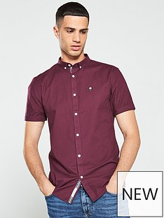 river-island-short-sleeve-berry-stretch-oxford