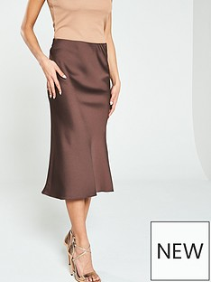 5730c45d66830 River Island Satin Midi Skirt- Chocolate