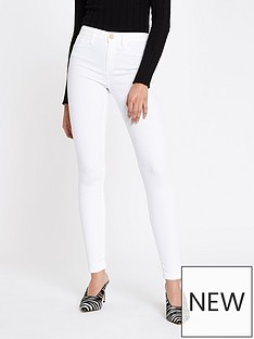 4095882f9a26d River Island River Island Molly Mid Rise Jeggings- White