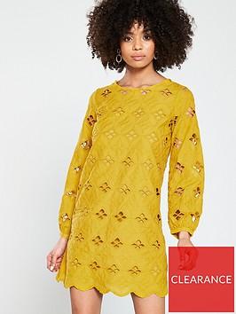 river-island-river-island-laser-cut-swing-dress--yellow