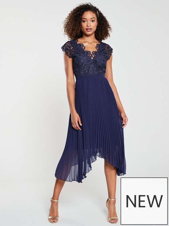 fa4349de7982 V by Very Lace Pleated Occasion Dress - Navy   very.co.uk