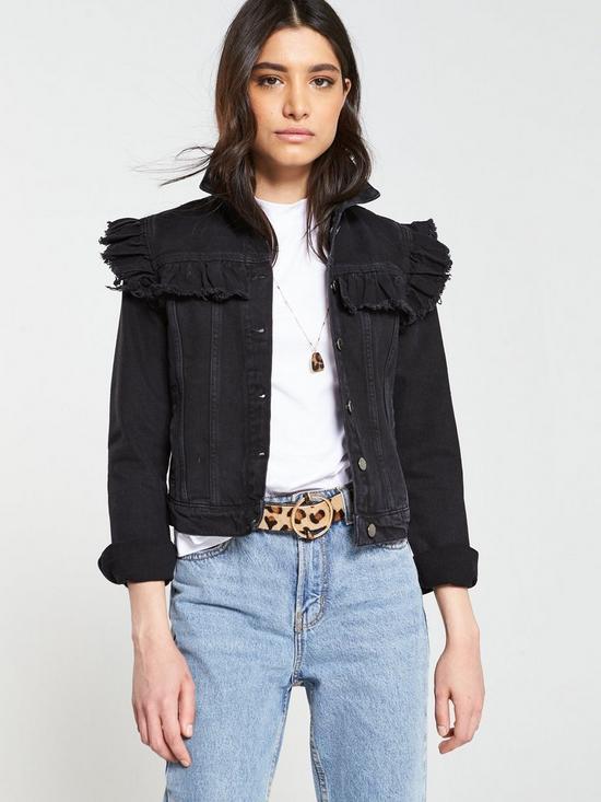 Image result for V by Very Ruffle Shoulder Denim Jacket - Black