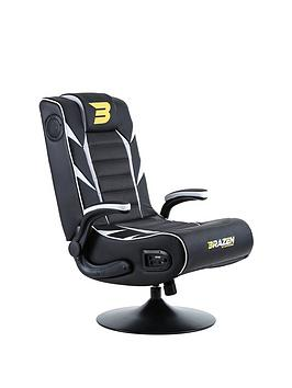 Brazen Panther Elite 2.1 Bluetooth Gaming Chair - Black And White