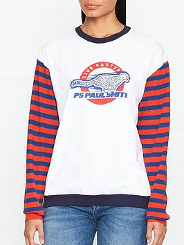 ps-paul-smith-logo-print-striped-sleeve-jersey-top-white