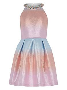 6a09b00acc9 River Island Girls ombre metallic prom dress - pink