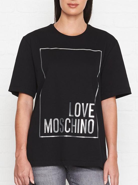 ad99704915649 LOVE MOSCHINO Box Logo T-Shirt - Black | very.co.uk