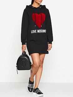 1f86301c6d114 LOVE MOSCHINO Flock Heart Logo Sweater Dress - Black