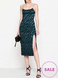 bec-bridge-dsicotheque-zebra-print-midi-dress-green