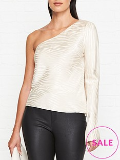 bec-bridge-the-kat-zebra-one-sleeve-top-sand