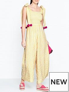 sundress-pippa-stripe-pom-pom-jumpsuit-yellow