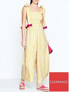 sundress-pippa-stripe-pom-pom-jumpsuit-yellow