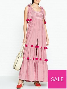 sundress-pippa-gingham-pom-pom-maxi-dress-red