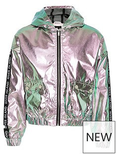 9c5aa6658ad8d River Island Girls Metallic Hooded Bomber Jacket - Pink