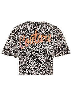 99d6089d9d2 River Island Girls couture leopard print top - brown
