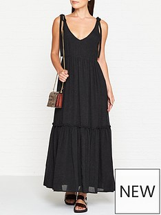 gestuz-tie-sleeve-maxi-smock-dress-black