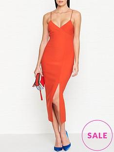 bec-bridge-lea-split-midi-dress-orange