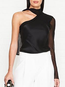 bec-bridge-romantique-one-shoulder-top-black