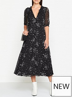 gestuz-gathered-v-neck-midi-dress-black