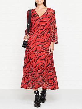 gestuz-long-sleeve-zebra-smock-dress-red