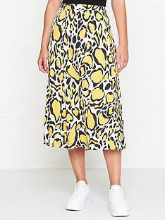 gestuz-leopard-midi-skirt-yellow