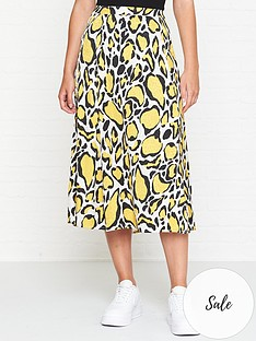 gestuz-leopard-midi-skirt-yellow