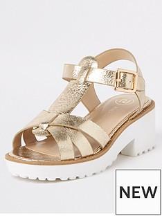 9074bfa022e0f River Island Girls metallic clumpy sandals - gold