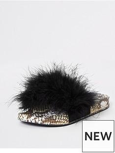 edf09d3abde5 River Island Girls Snake Print Faux Fur Sliders - Black