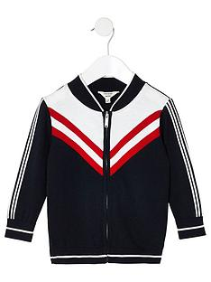 river-island-mini-mini-boys-chevron-knit-bomber-jacket-navy