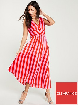 warehouse-cutabout-stripe-dress-pink