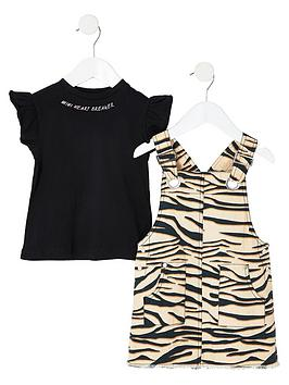 river-island-mini-mini-girls-zebra-2-in-1-pinafore-dress-brown