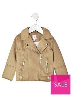 river-island-mini-mini-girls-faux-suede-biker-jacket-brown