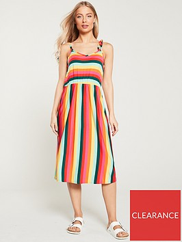 warehouse-niko-rainbow-stripe-tie-shoulder-dress-multi