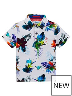 846b8f734 Baker by Ted Baker Toddler Boys Tropical Print Short Sleeve Polo Shirt -  Multi