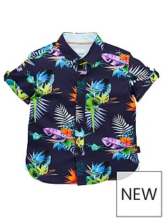 1d4d139ab691 Baker by Ted Baker Toddler Boys Tropical Short Sleeve Shirt - Multi