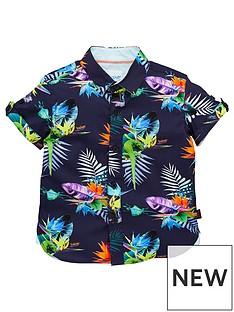 97a78d091 Baker by Ted Baker Toddler Boys Tropical Short Sleeve Shirt - Multi